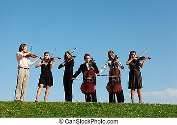 Seis, Músicos, juego, Violines, contra, cielo