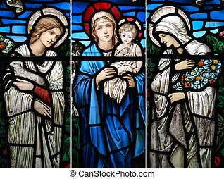 Religious stained glass window collection - collection of...