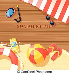 Beach Equipment Illustration - Beach equipment with sand and...