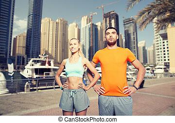 城市, 迪拜, 在上方, 行使, 背景, 夫婦