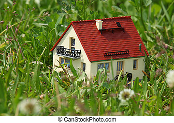 House model in grass