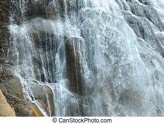 Closeup of Gibbon Falls in Yellowstone - Base of Gibbon...