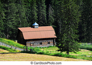 Barn in Absaroka Foothills - Old log barn has been restored...