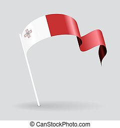 Maltese wavy flag Vector illustration - Maltese pin icon...