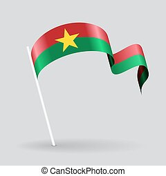 Burkina Faso wavy flag. Vector illustration.
