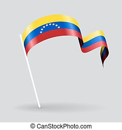 Venezuelan wavy flag. Vector illustration. - Venezuelan pin...