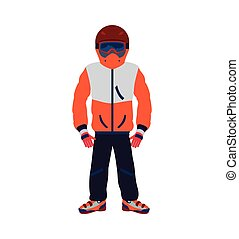 jacket cap glasses cloth fashion winter cold icon Vector...