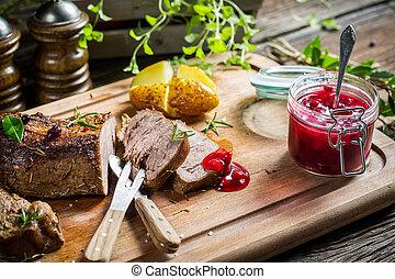 Venison with cranberry sauce