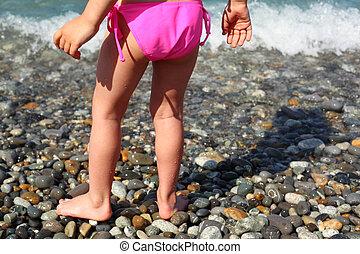 Children\'s feet on seacoast