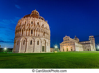 Ancient monuments in Pisa at sunset