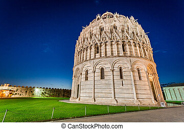 Ancient monuments in Pisa at night