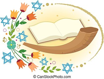 Yom Kippur Clip art - Horn with open book and flowers with...