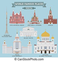 Famous Places of Moscow, Russia Kremlin, Bolshoi Theatre, St...