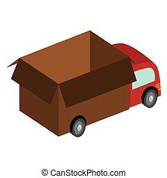 box truck icon - flat design box truck icon vector...