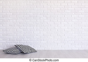 Interesting print on the background of brick wall - Two...