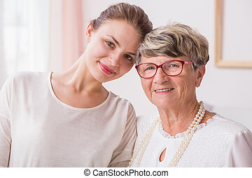 Close relation between grandmother and granddaughter - Close...