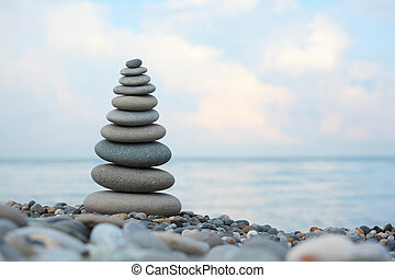 stone stack on pebble beach, Horizontal shot