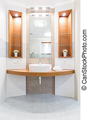 Bathroom with wooden details idea