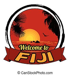 Welcome to Fiji stamp - Welcome to Fiji concept in vintage...