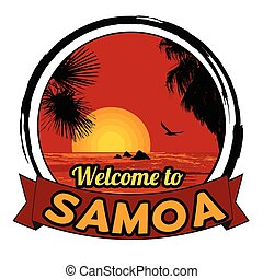 Welcome to Samoa stamp - Welcome to Samoa concept in vintage...
