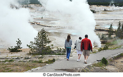 Geyser Basin in Yellowstone - Family visits Norris Geyser...