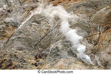 Steam Vents - Steam escapes from ground vents in Yellowstone...