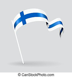 Finnish wavy flag. Vector illustration. - Finnish pin icon...
