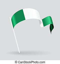 Nigerian wavy flag Vector illustration - Nigerian pin icon...