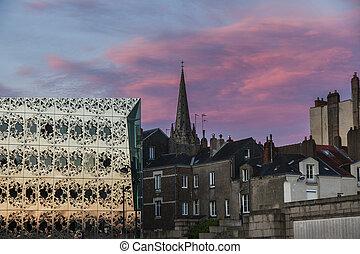 Panorama of Nantes at sunset