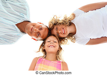Happy family with little girl isolated on white background,...