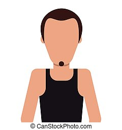 single man with facial hair icon - flat design single man...