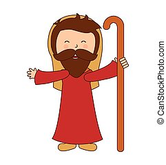 saint joseph character icon vector illustration graphic