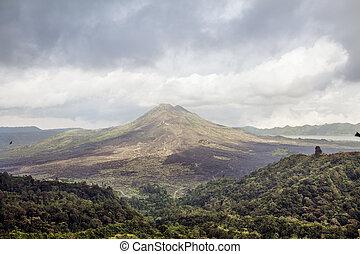 Batur volcano panoramic view, Bali island Indonesia