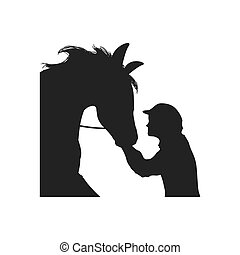 horse animal ridding silhouette sport hobby icon. Vector...
