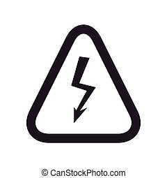 thunder road sign triangle warning icon. Vector graphic
