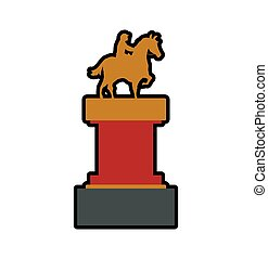 trophy horse animal ridding sport hobby icon. Vector graphic...