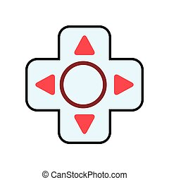 video game red button arrow circle icon Vector graphic -...