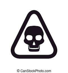 skull road sign triangle warning icon. Vector graphic