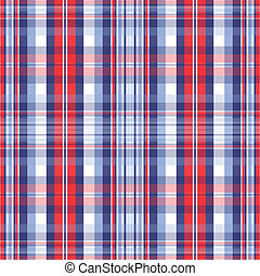 Patriotic Plaid - An illustration of a patriotic red, white...