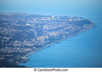 View on Sochi from air