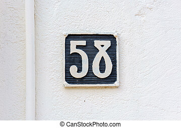 Number 58 - molded house number fifty eight (58)