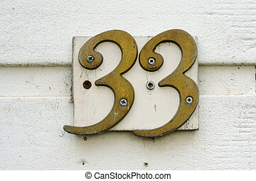 Number 33 - Brass house number thirty three 33
