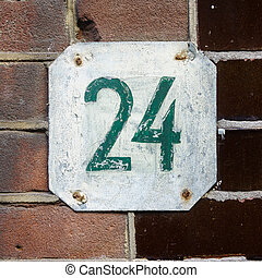 Number 24 - Hand painted house number twenty four (24)