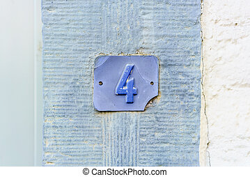 Number 4 - Blue house number four