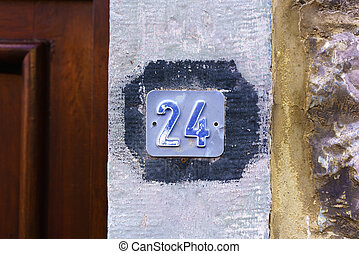 Number 24 - house number twenty four embossed in a small...