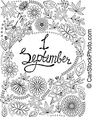 First September background black and white - Vector First...