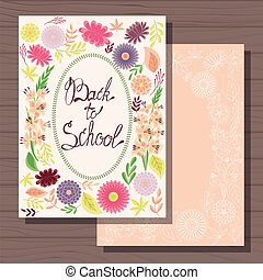 Back to school cards on wooden background - Vector back to...