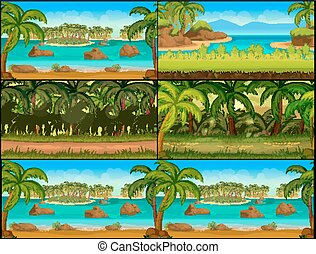 Jungle Game background Vector Set