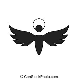 angel silhouette fairy wing heaven icon Vector graphic -...