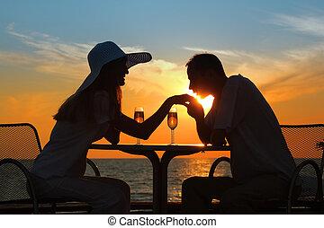 homem, beijos, mão, mulher, pôr do sol,...